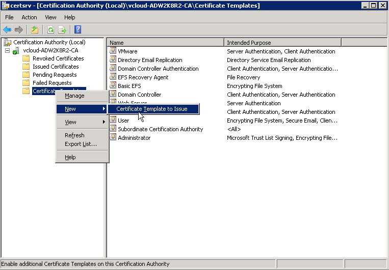 Creating microsoft ca templates for certificates in vsphere 60 select the certificates that you created then click ok you are able to select multiple certificates so feel free to do them both in one step yadclub Image collections